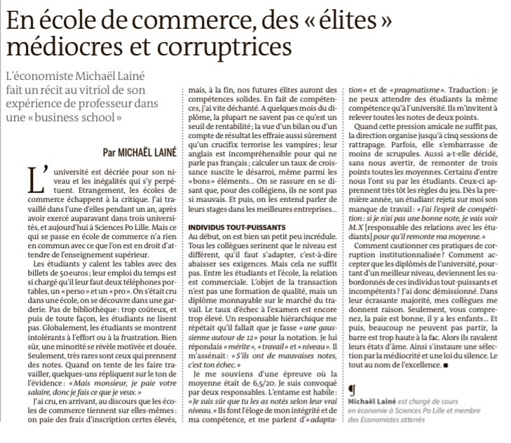description ultra-violente des écoles de commerce par un de ses... profs (@lemondefr⁩)