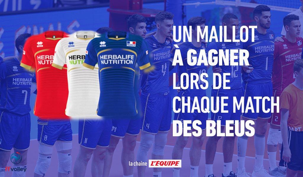Pour chaque match de l'équipe de France de @FFvolley aux championnats du monde, on vous régale !   RT&Follow si vous voulez remporter le maillot des Bleus !   Rdv à 16h sur @lachainelequipe pour France-Serbie, le tirage au sort du gagnant aura lieu juste après la fin du match.