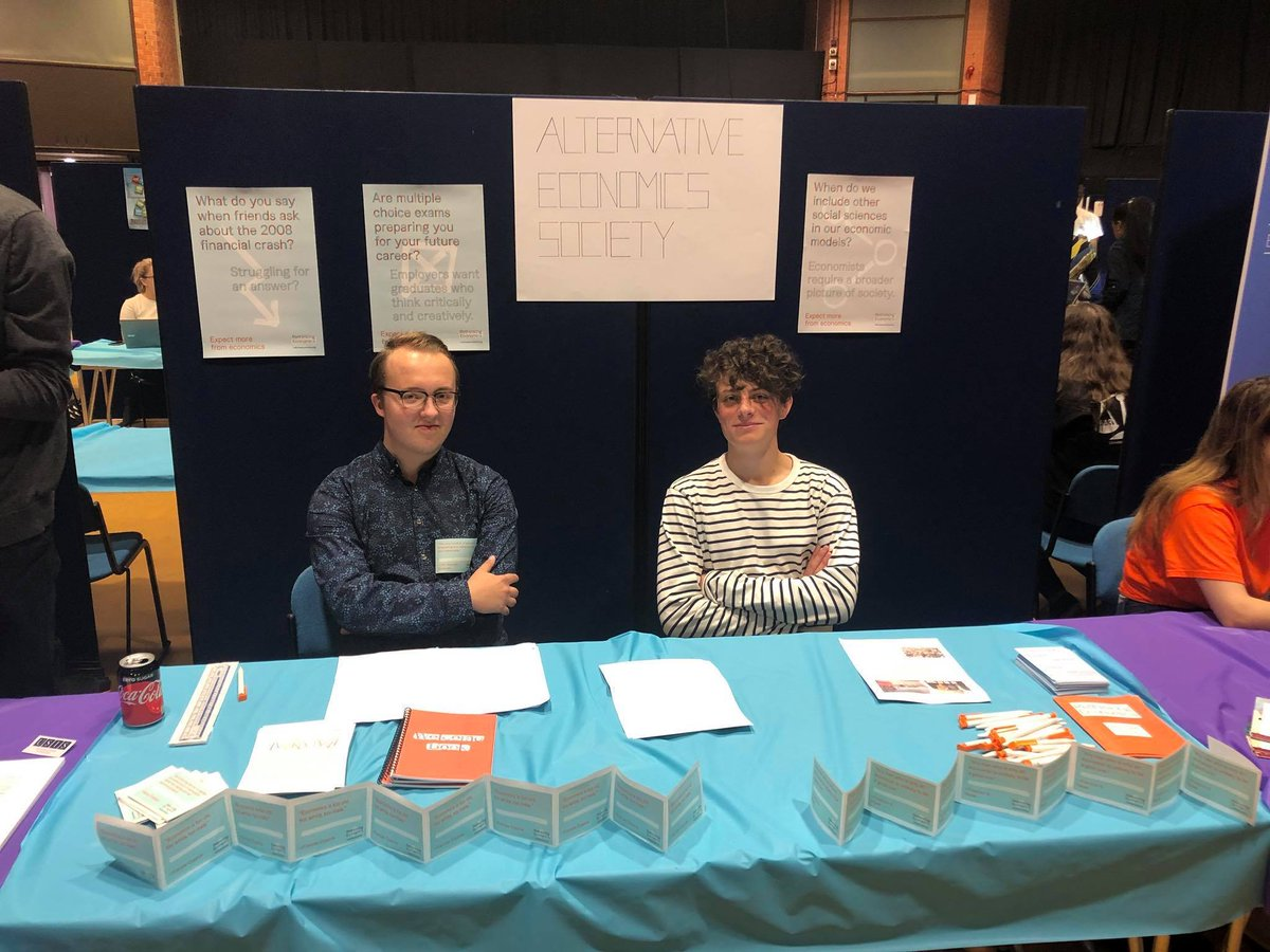 Its great to see our groups from all over the country have been representing at their respective Freshers Fairs! If youre at these universities and would like to get involved, check out their Twitters: @AltEconSheff @SussexPEAS @GURWES @APEG2018