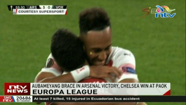 Pierre-Emerick Aubameyang scored twice as Arsenal began their Europa League Group E campaign with a 4-2 win against Ukrainian side Vorskla Poltava. #NTVAtFour @Gladys_Gachanja Photo