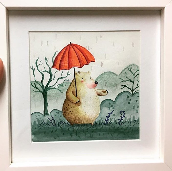 Little watercolour bear in the rain for colour collective. Wishing you all a good weekend!   #kidlitart #illustration #art @Clr_Collective #colour_collective<br>http://pic.twitter.com/4vh2d69qF8