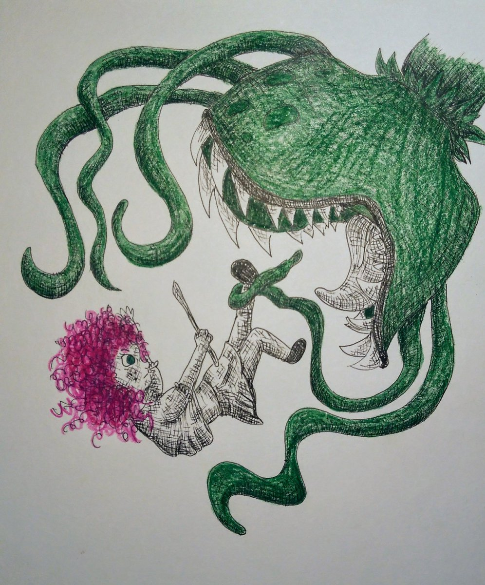 Nixie fighting the plant monster in the dungeons for this week&#39;s #colour_collective @Clr_Collective #HookersGreen #hookers_green #kidlitart #magic go Nixie!!! Show him whose boss<br>http://pic.twitter.com/5WwWJ77Tg5