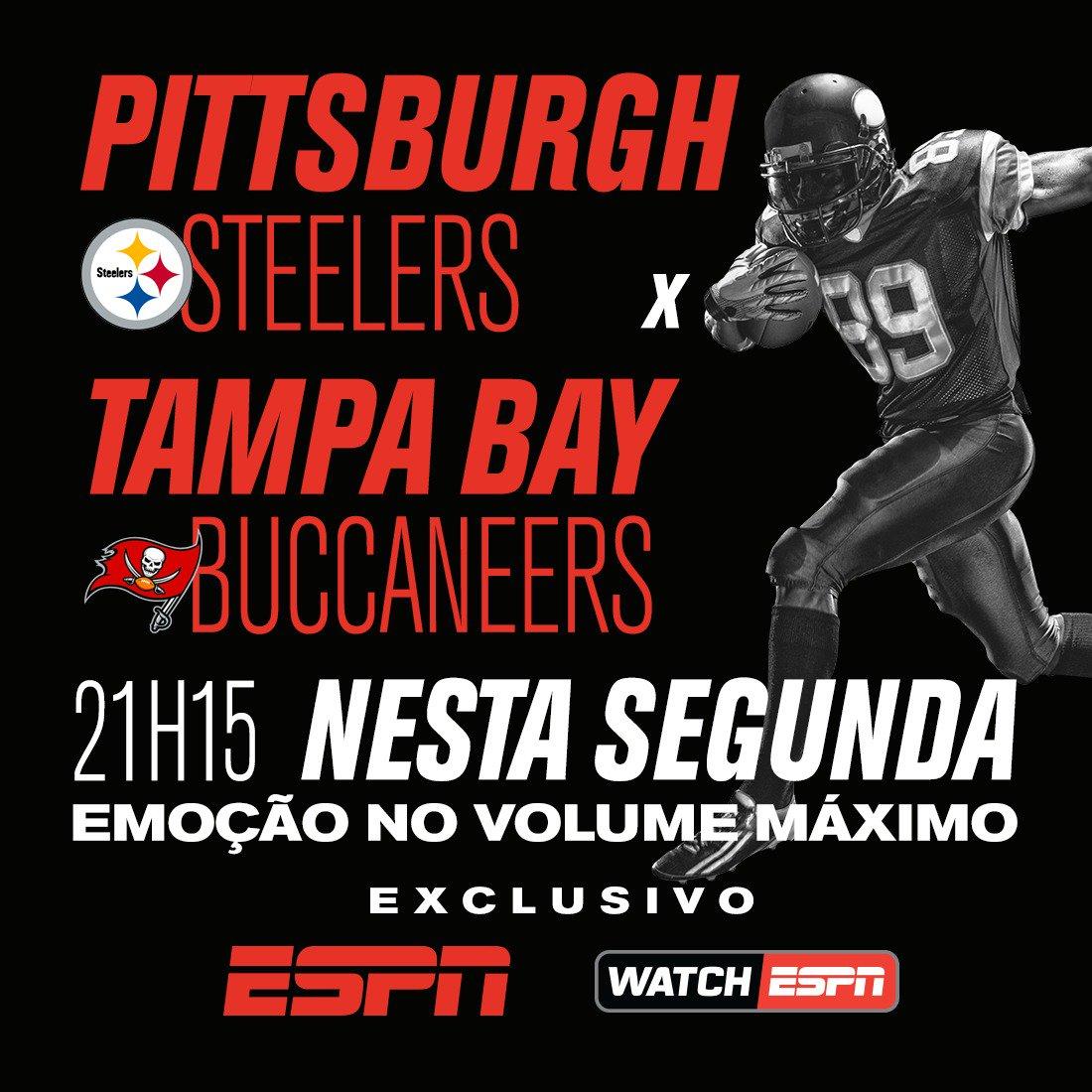 SEGUNDA DE NFL! 🏈🔥  HOJE, Pittsburgh Steelers e Tampa Bay Buccaneers se enfrentam pela semana 3 da NFL. Assista à partida AO VIVO e EXCLUSIVO, às 21h15, na ESPN e WatchESPN!  #NFLnaESPN