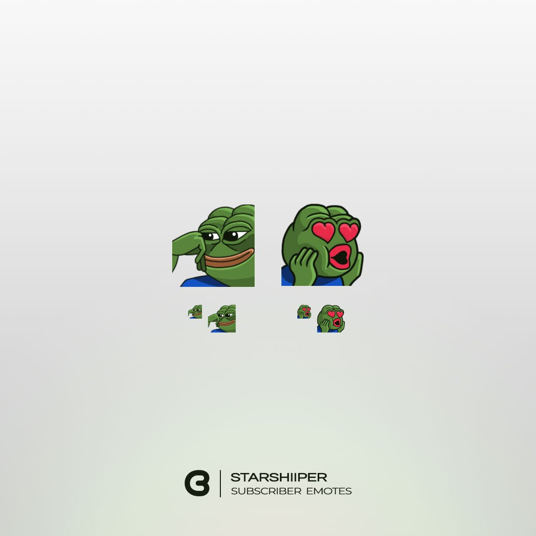 Pepe themed subscriber Emotes for Twitch streamer @StarshiipeR