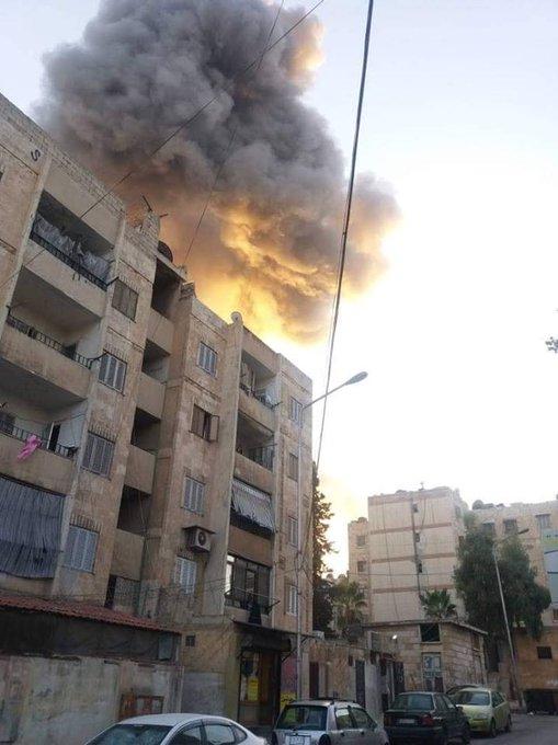 #Syria: huge explosion in Hamdaniyah (W. #Aleppo). Photo