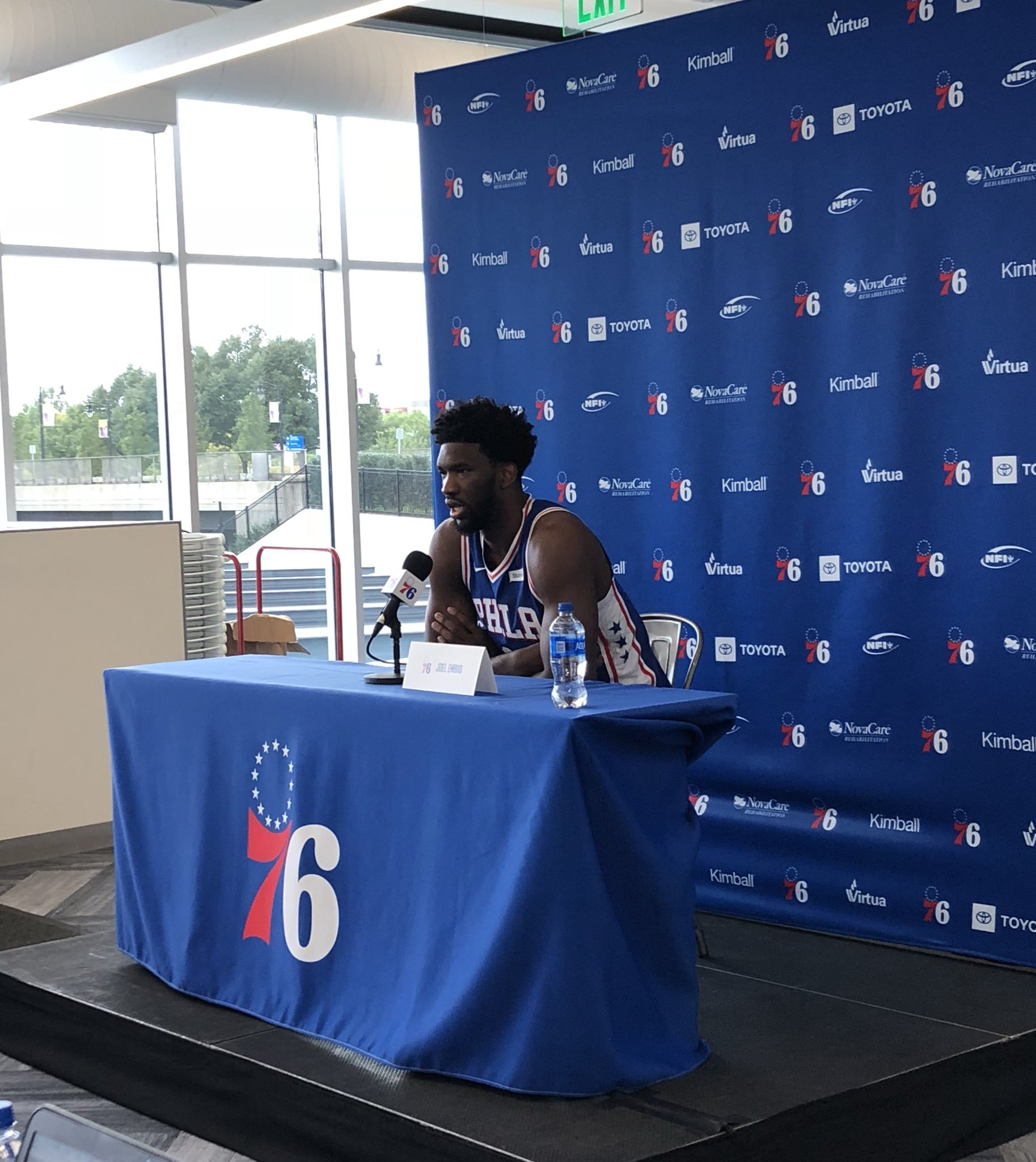 Joel Embiid meets the media.   @sixers take on the @dallasmavs for #NBAChinaGames Oct. 5 & Oct. 8. https://t.co/oiKrtelApk