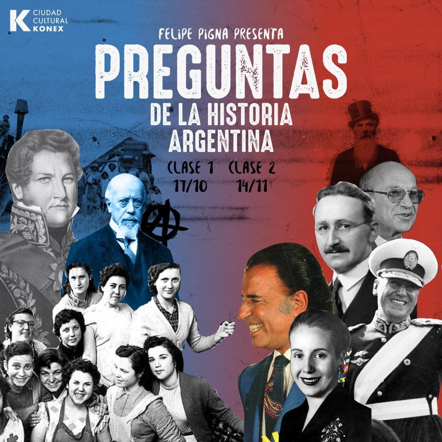 .@FelipePigna presenta Preguntas de la historia Argentina. Dos encuentros en los que se recorrerán hitos del siglo XIX y XX. cckonex.org/espectaculo/fe…