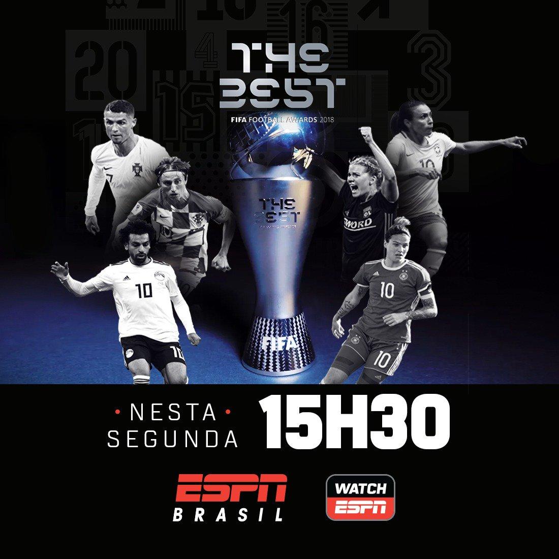QUEM SERÁ O MELHOR DO MUNDO?  HOJE, a partir das 15h30, assista ao The Best Fifa Football Awards AO VIVO na ESPN Brasil e WatchESPN!  #TudoPeloFutebol