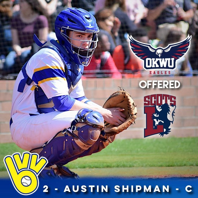 Senior catcher @ahship2 picked up offers from two top-tier NAIA programs the past week! Both Oklahoma Wesleyan (11) and Lyon (25) both finished 2018 ranked in the NAIA Top-25. Congrats Austin, The Pack is proud of you!! #packfirst Photo