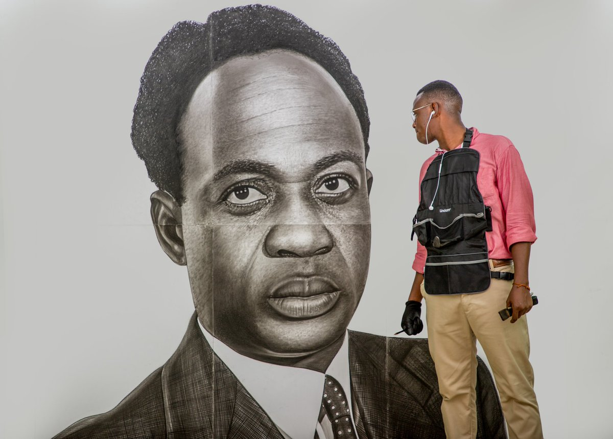 Hand illustration of dr kwame nkrumah in charcoal pencil happyfoundersdayghana innovatestudios ghana drawing fayamo art kwamenkrumah