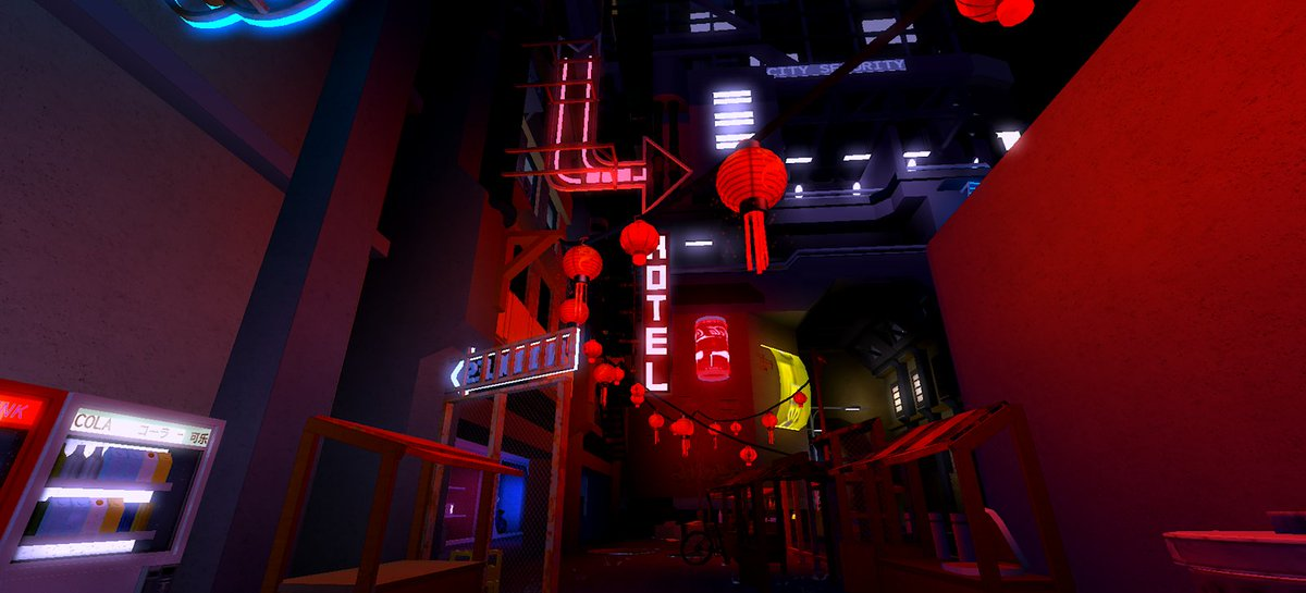Roblox On Twitter Rainy Alleys Glowing Signs And Tunnels Full
