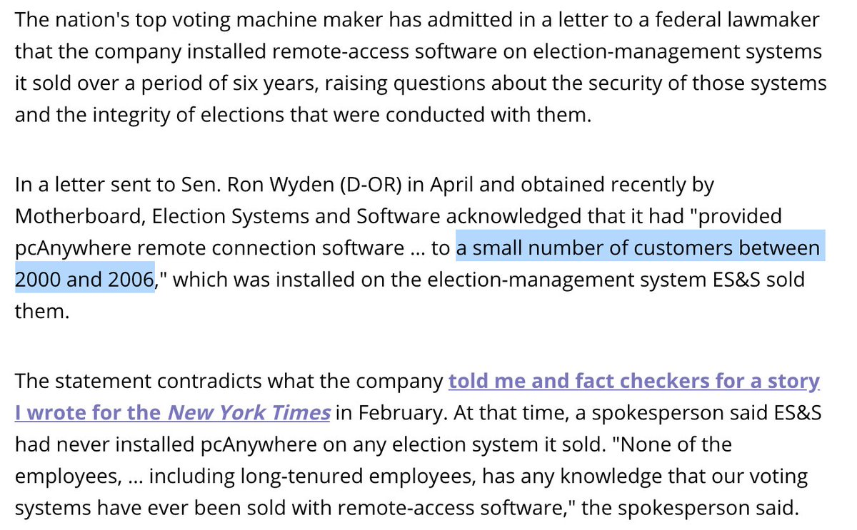 """For months, ES&S refused to tell me or  how@RonWyden many of its customers had remote-access software pcAnywhere installed on their election-management systems. ES&S would only say 'a small number"""" Today, NPR reports ES&S has finally revealed 300 jurisdictions had it installed."""