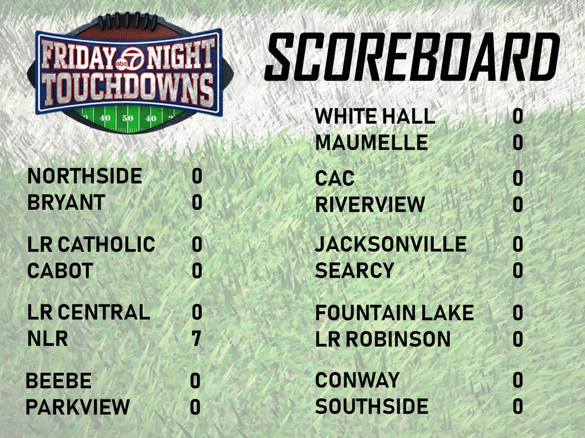 Friday Night Touchdowns: North Little Rock has the lead over Little Rock Central. Game kicked off early because of weather but has now been delayed in 1st quarter. #FNT