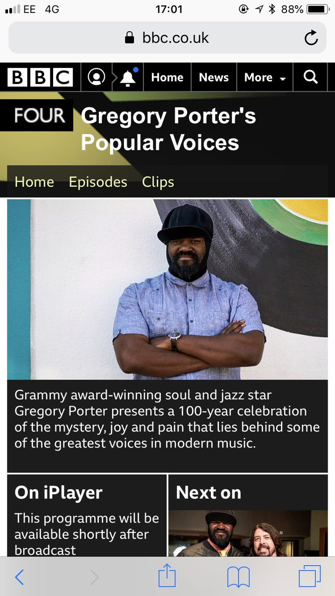 If you missed the 1st of 3 Popular Voices programmes presented by Gregory Porter on @BBCFOUR tonight, catch it again on @BBCiPlayer #davegrohl @ehumperdinck   https://www.bbc.co.uk/programmes/p05d3p0d…