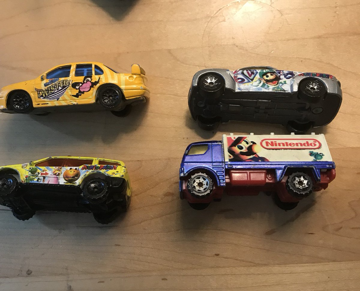 Rare Nintendo Matchbox cars from 2005. They are using edited art from various games such as Mario Party 64, Super Mario 64 and WarioWare Twisted.