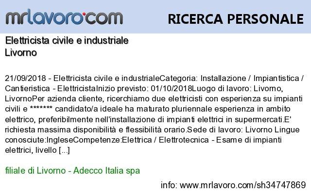 Nuove offerte di #lavoro #Livorno:Elettricista civile e industrialeInfo:  https:// www.mrlavoro.com/tw34747869  - Ukustom