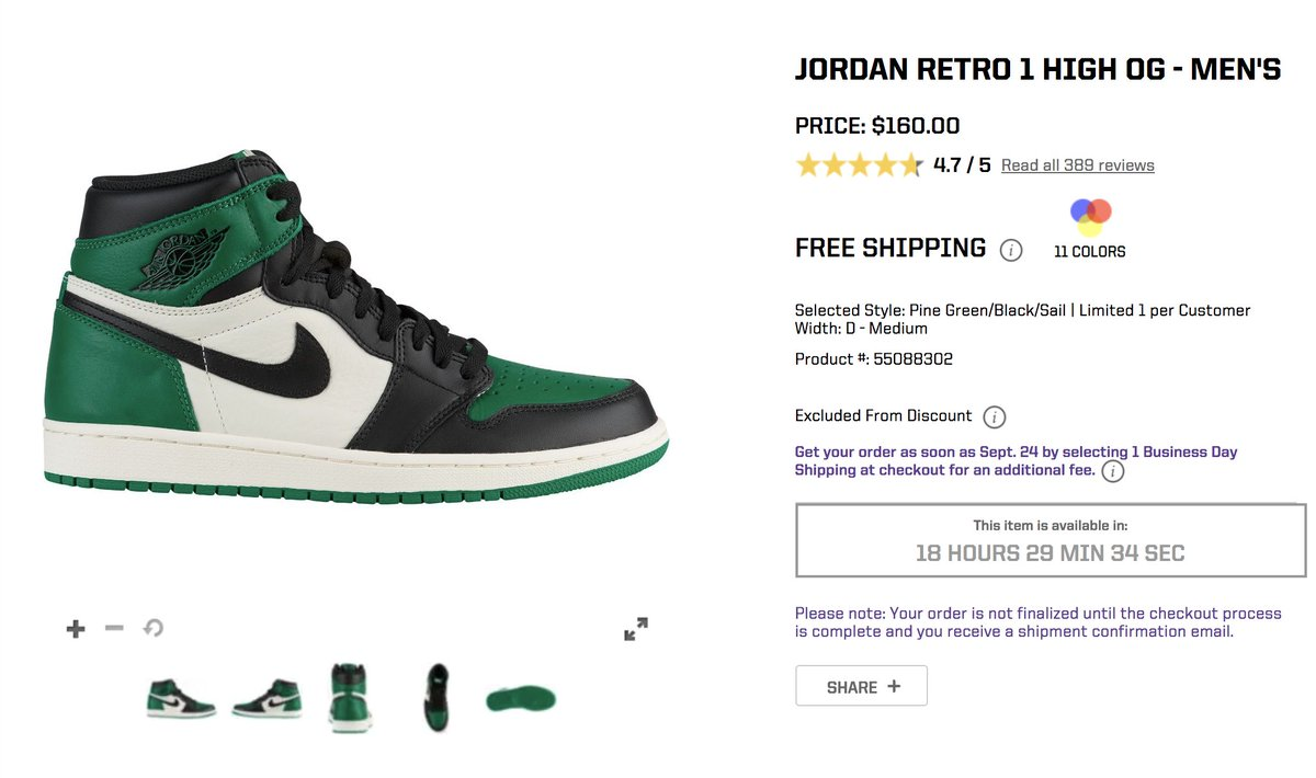 ... Jordan 1 Retro High OG  Pine Green  Foot Locker http   bit.ly 2O2IRXs  Footaction http   bit.ly 2NXPNVW Eastbay http   bit.ly 2NxaMzm ... fdd3003fe