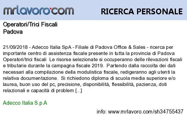 Nuove offerte di #lavoro #Padova:Operatori/Trici FiscaliInfo:  https:// www.mrlavoro.com/tw34755437  - Ukustom
