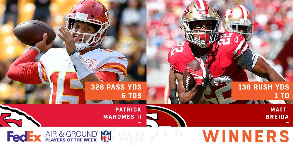 Congratulations to @PatrickMahomes5 & @MattBreida on being named Week 2's @FedEx #AirAndGround Players of the Week! https://t.co/E03etj2ZFm