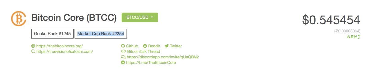 Bitcoin Core Coin is the real Bcash