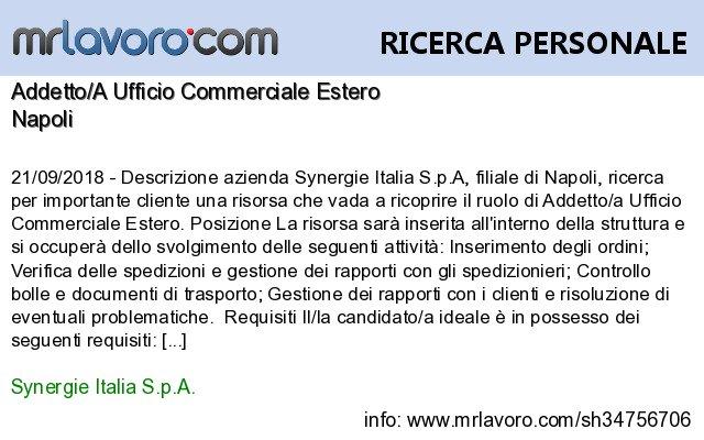 Nuove offerte di #lavoro #Napoli:Addetto/A Ufficio Commerciale EsteroInfo:  https:// www.mrlavoro.com/tw34756706  - Ukustom