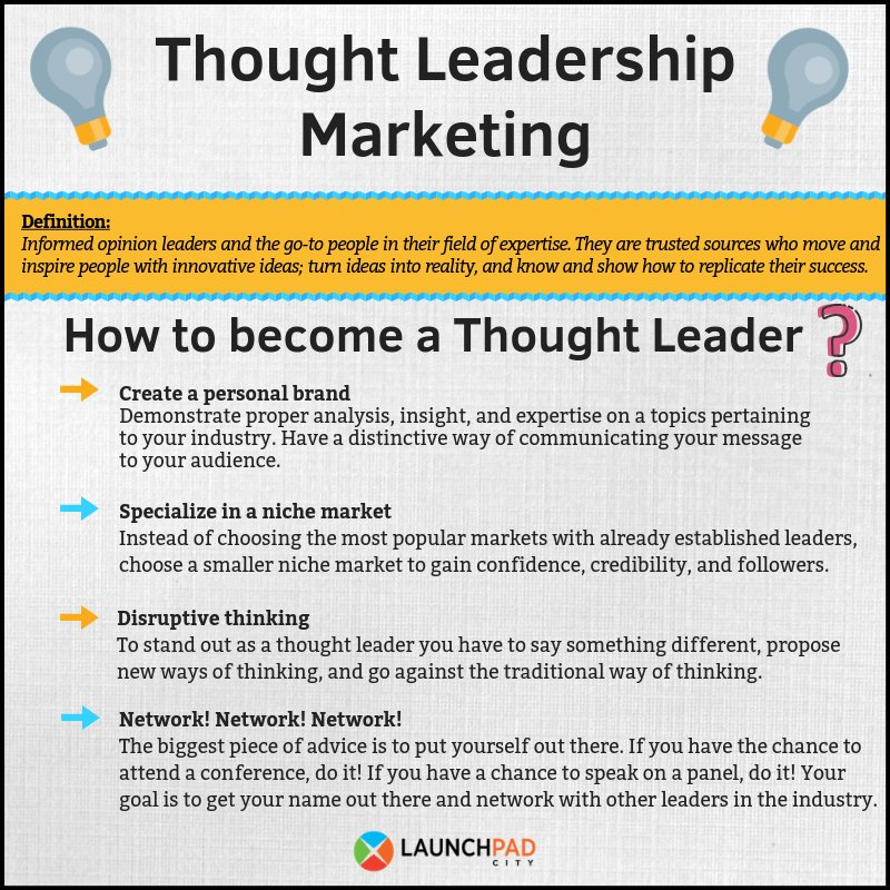 We have compiled 4 ways you can start becoming a thought leader in your  industry today.  Entrepreneurship  MarketingStrategy  ThoughtLeaders   innovation ... 9f09f16439