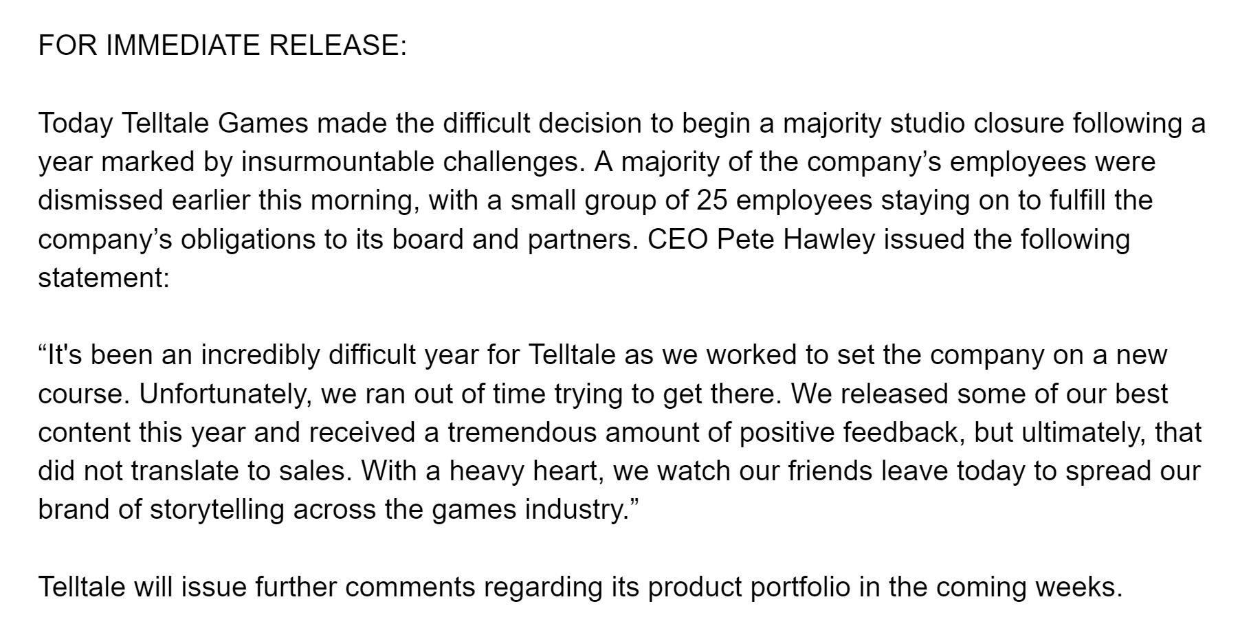 Telltale Games сообщила о банкротстве и закрытии. Нет, это не шутка.