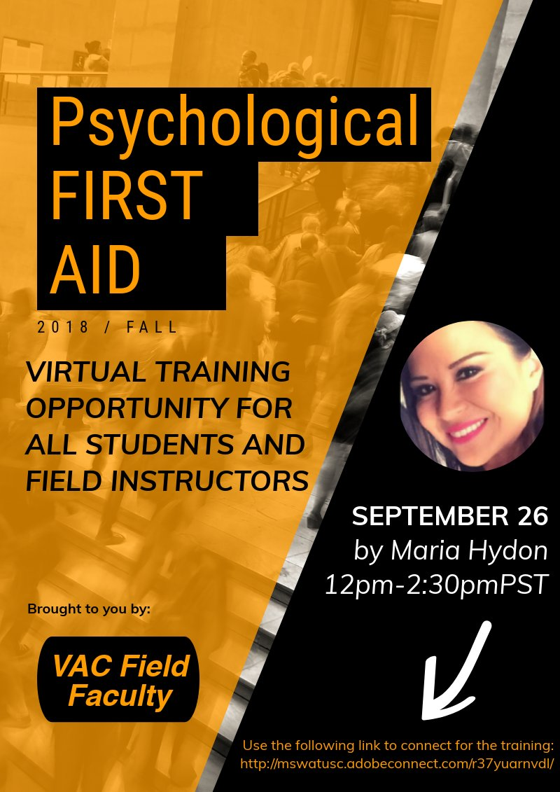 Using @piktochart to announce a virtual training opportunity for our @MSWatUSC students and Field Instructors on #PsychologicalFirstAid Unfortunately, well timed with #FlorenceHurricane2018 @LWVeit