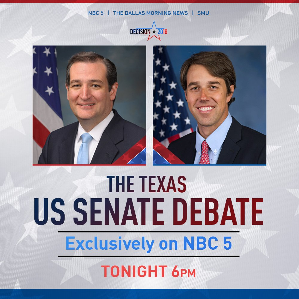 We're now just 30 minutes away from the #TXSenateDebate between Sen. @tedcruz and Rep. @BetoORourke. Watch live only on NBC 5 and here ➡️ https://t.co/NBWpvlGahy 🇺🇸