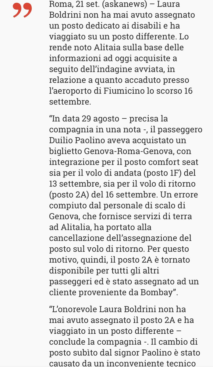 Il comunicato di @Alitalia conferma che la storia del posto riservato al disabile occupato da @lauraboldrini è solo l'ennesima #bufala. Anche a FuoriGiocoRadio1 smascheriamo le #fakenews con l'aiuto dei nostri #fakebusters   - Ukustom