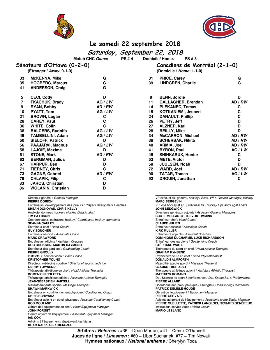 Voici les alignements pour le match de samedi soir contre les Sénateurs d'Ottawa au Centre Bell.  Here are the lineups for Saturday night's game between the Canadiens and the Ottawa Senators at the Bell Centre.   #GoHabsGo