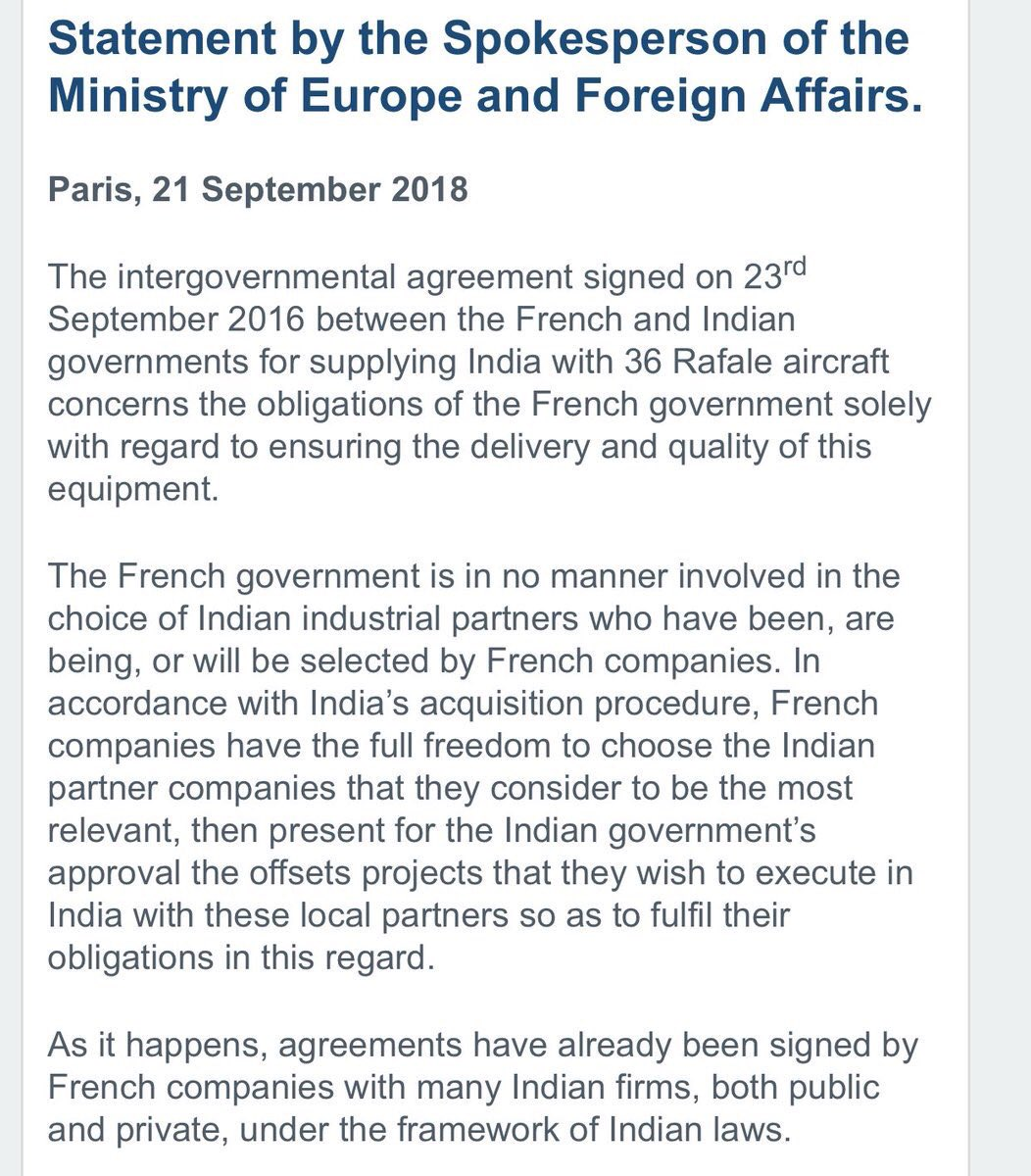 French Goverment demolishes the lies being spread on #RafaleDeal https://t.co/zIJBBgKRE4