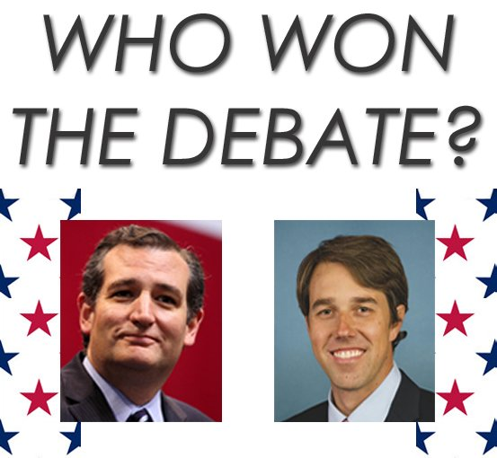 WHO WON THE DEBATE?  That was a spirited and intense debate between Ted Cruz and Beto O'Rourke in Dallas. Who do you think won? Retweet for Cruz Favorite for O'Rourke #Fox4Elections #TXSenateDebate https://t.co/Rw4s0qUTpU