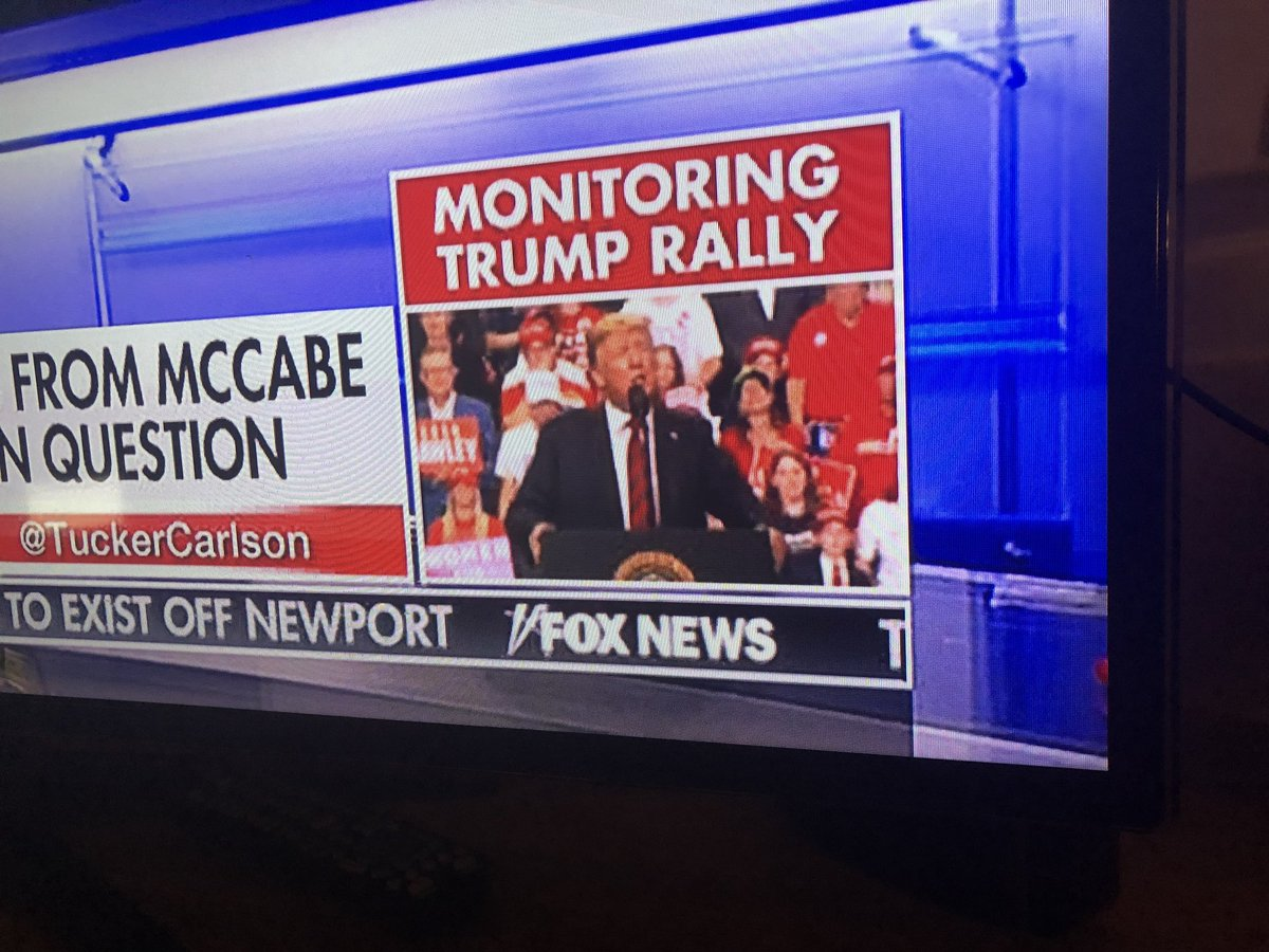 Curious: Fox has promoted wall to wall coverage of Trump's rallies in the past, but last night Ingraham's show cut into part of a rally, and tonight Carlson's show is just 'monitoring' it