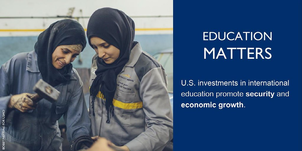 """International #education programs 'demonstrate the generosity of the American people; and help create conditions in partner countries that are favorable to #peace, #democracy & trade."""" More in first USG International Education Strategy:  https://t.co/GHUv2BldWB#USAIDTransforms"""
