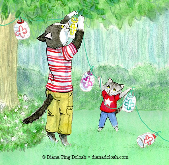 Here&#39;s my Late entry for #colour_collective #HookerGreen or is it #HookersGreen anyway I give you a daddy #cat and his #kitten hanging party lanterns in the garden. #illustration #kidlitart <br>http://pic.twitter.com/hrlHkcJKsF