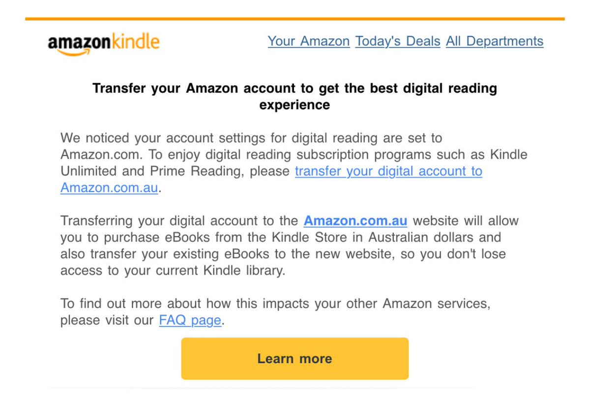 This is a trap, isn't it? Transfer your US book account to Amazon Australia sounds a bit like move to a smaller bookstore with higher prices.