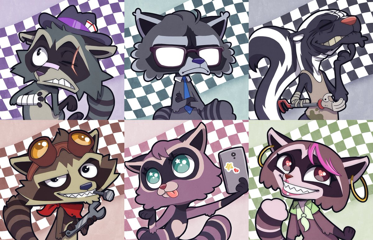 Calling all #Critters! @samriegels crazy #CrashPandas one-shot is LIVE NOW on twitch.tv/criticalrole! Shoutout to @Takayuuki_art for these insanely good illustrations of our six feral street racers: Reggie Burns, Ringo, Albert, Goober, Rhinestone & Izzy.