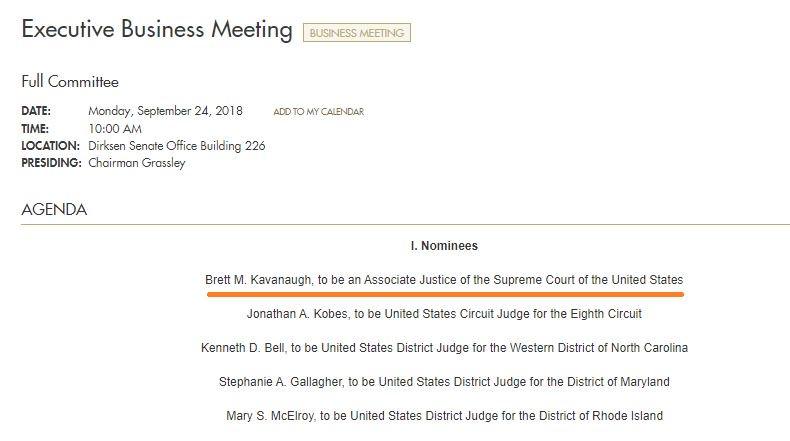 Senate Judiciary Committee sets Monday vote on Supreme Court nominee Brett Kavanaugh https://t.co/bChPzwulkj