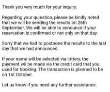 An official email response from the travel agency handling the 4th Live Hotel + Ticket Package has updated that the release date of results for the foreigner application will be on Sept 26, and that credit cards will be charged on Oct 1st.  Hat tip to raven#6184 on Discord. <br>http://pic.twitter.com/5SAH7BFspK