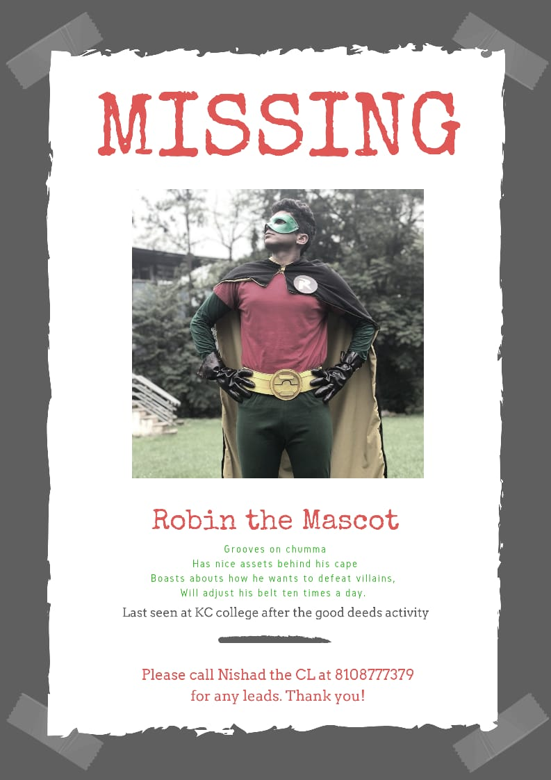 #Heronotfound Our Mascot Robin is MISSING!? Help us find him!  @kiranthefest