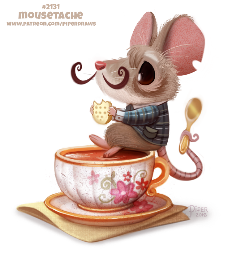 Daily Paint 2131. Mousetache  #illustration #animals #cute   Daily Paintings Book:  http:// ForgePublishing.com/shop  &nbsp;                     https://www. patreon.com/piperdraws  &nbsp;  <br>http://pic.twitter.com/DVGP1Vmg3g