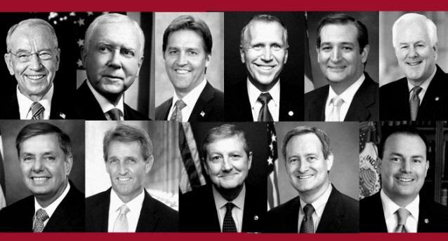 These are the 11 Republican men led by @ChuckGrassley who won't even give Dr. Blasey Ford another 24 hours. What are they afraid of?