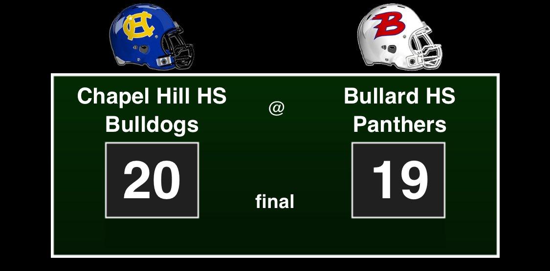 Chapel Hill HS Bulldogs: 20, Bullard HS Panthers: 19, final #footballfriday #txhsfb<br>http://pic.twitter.com/dCvG7ZDNck