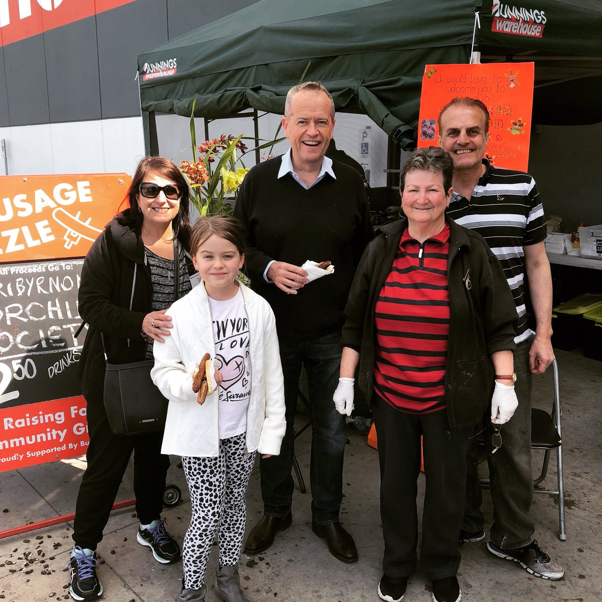 A trip to Bunnings isn't complete without a sausage sizzle. Thanks to the team raising funds for the Maribyrnong Orchid Society.