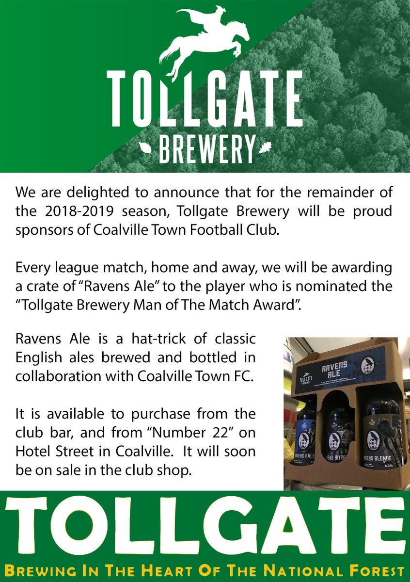 Delighted to announce @TollgateBrewery are new sponsors for @CoalvilleTownFC. The &quot;Tollgate Brewery Man of the Match Award&quot; will be presented at every remaining league match, home and away, with the player receiving a crate of Ravens Ale, designed exclusively for CTFC. <br>http://pic.twitter.com/FaSqm1m61a