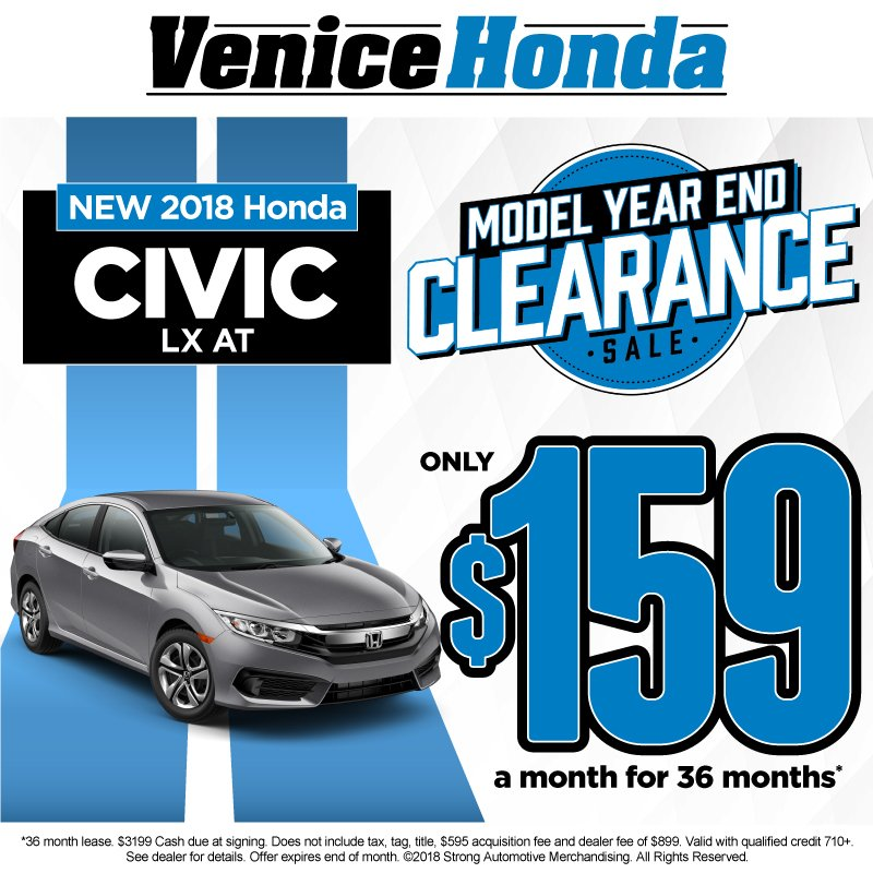 ... For Only $159 A Month For 36 Months When You Shop The Model Year End  Clearance Sale At #VeniceHonda! Https://bit.ly/2hgW7rB  Pic.twitter.com/3FIFfsBENo