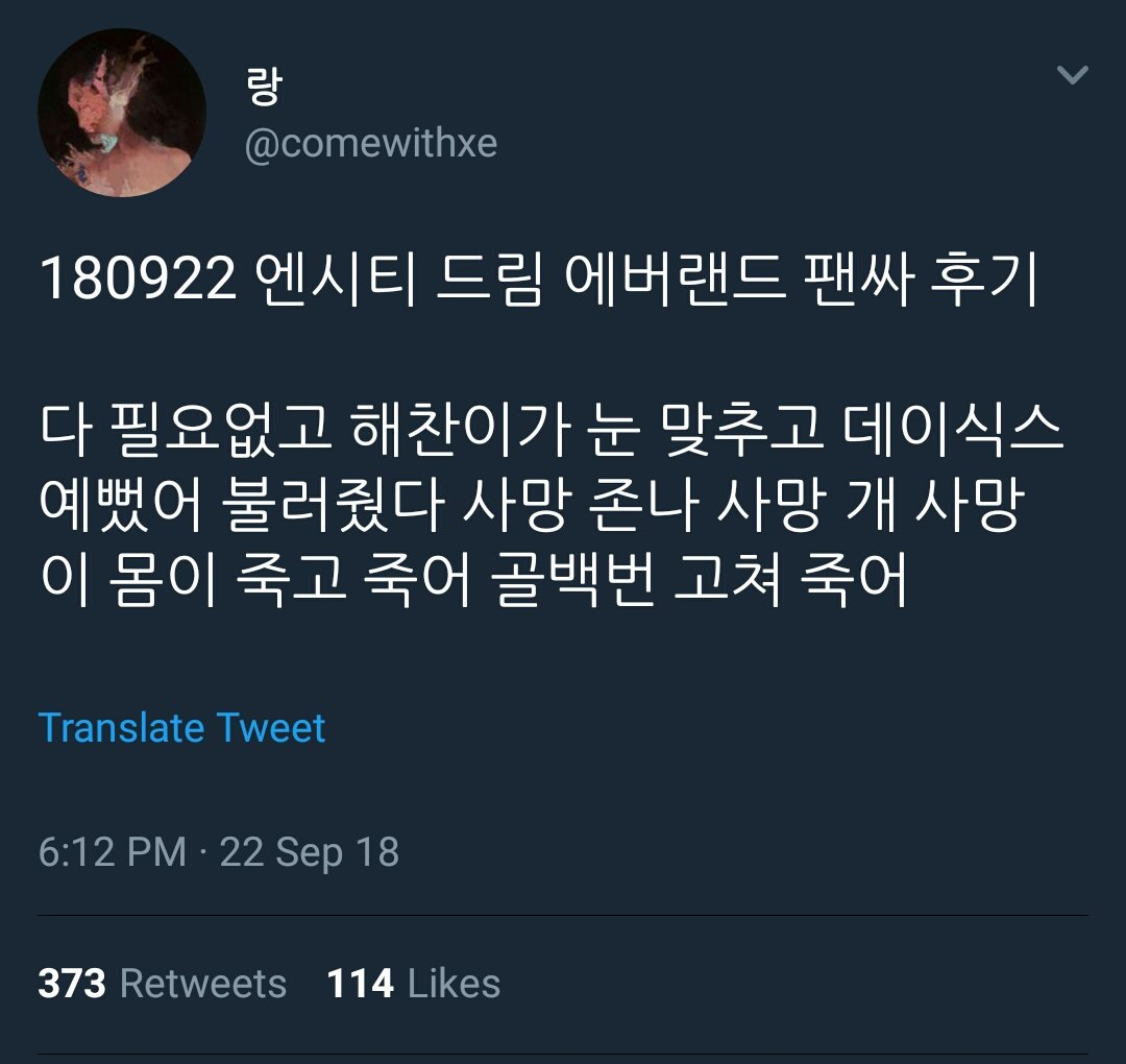 During Everland Fansign NCT Dream&#39; Haechan sang DAY6&#39; &lt;You Were Beautiful&gt; while looking at her eyes    The caption tho &quot;......Dead i swear i dead hundreds time&quot; <br>http://pic.twitter.com/zrCW06EGmS