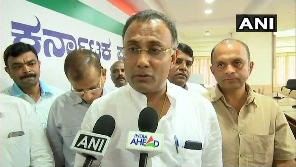 Open horse-trading is going on. Central govt is itself hand-in-glove. Amit Shah & PM Modi are directly responsible for creating instability in Karnataka. They don't want this government to function: Karnataka Pradesh Congress Committee (KPCC) president, Dinesh Gundu Rao