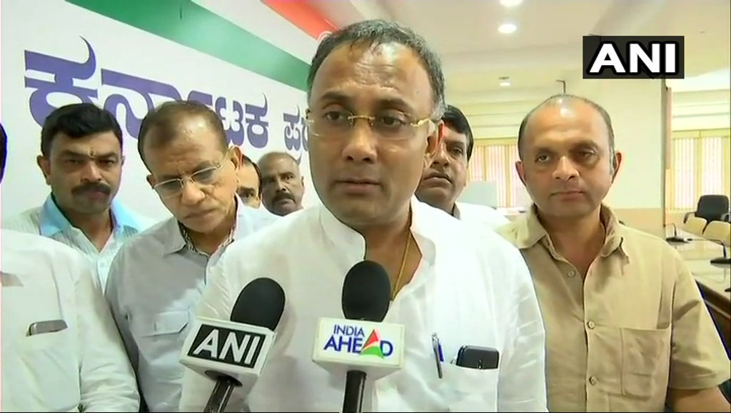 They're telling the MLAs, 'we've central govt with us, you come with us & we'll do everything necessary.' Yeddyurappa himself called MLAs & said 'don't worry, central govt is ours'. We've complained to IT dept that BJP people are trying to offer inducements to our MLAs: KPCC Pres